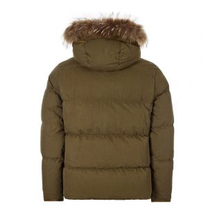 Hooded Fur Jacket - Olive