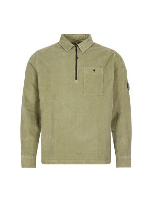 CP Company Corduroy Shirt Half Zip   MSH0287A 005899O 693 Olive