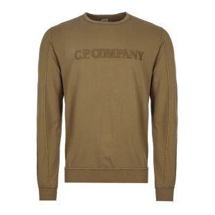 cp company sweatshirt embroidered logo MSS089A 002246G 661 olive
