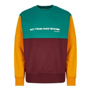 Drôle de Monsieur Sweatshirt FW19 NAGOYA MULTI Burgundy / Green / Yellow