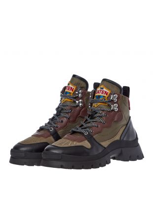 High Top Sneaker - Military Green / Red
