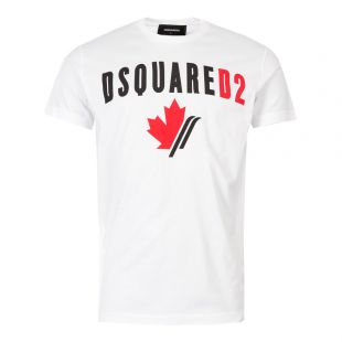 DSquared T-Shirt S74GD0563 S22427 100 White Maple Leaf