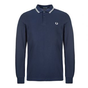 Fred Perry Long Sleeve Twin Tipped Polo Shirt M3636|I86 Navy At Aphrodite Clothing