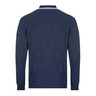 Long Sleeve Twin Tipped Polo Shirt - Navy