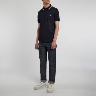 Twin Tipped Polo - Navy with White/White