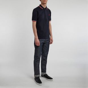 Twin Tipped Polo - Navy with Red/White