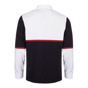 Long Sleeve Polo Shirt - White/Navy
