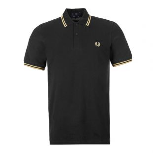 Fred Perry Twin Tipped Polo Shirt | M12 157 Black / Champagne