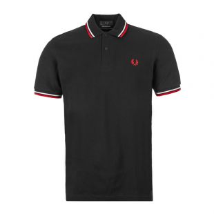 Fred Perry Twin Tipped Polo Shirt | M12 186 Black / White / Bright Red
