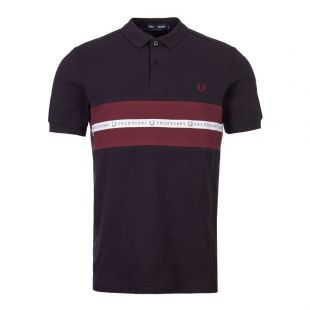 Fred Perry Polo Shirt Sports Tape M5566 608 In Navy