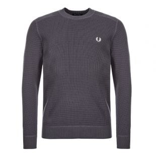 Fred Perry Waffle Knit Sweatshirt K7520|491 Charcoal At Aphrodite Clothing