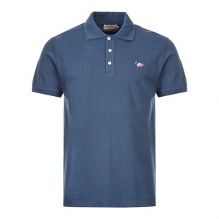 Maison Kitsune Polo Shirt Fox Patch DM00210K J7002 PT Petrol Blue