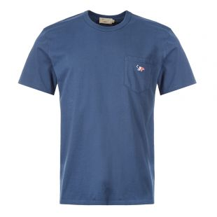 Maison Kitsune T-Shirt Fox Patch | DM00125K J0008 PT Petrol Blue