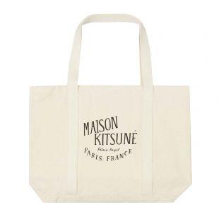 Maison Kitsune Tote Bag | AU05100WW0008 ECBK Ecru / Black