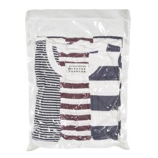 maison margiela three pack t-shirts S50GC0552 S23488 961 navy / white / red stripe