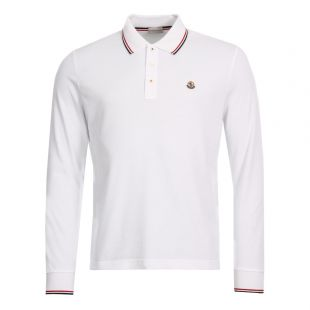 Moncler Long Sleeve Polo 83480-00-84556-001 in White