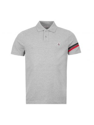 Moncler Polo Shirt Stripe 8A709 00 84556 984 In Grey At Aphrodite Clothing