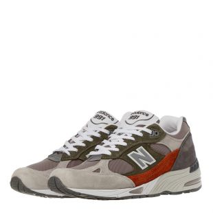 991 Trainers - Grey / Orange / Green