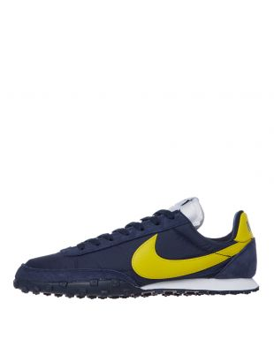 nike waffle racer trainers CN8116 400 navy / yellow