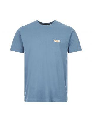 nudie jeans t-shirt daniel logo 131613 P11 petrol blue