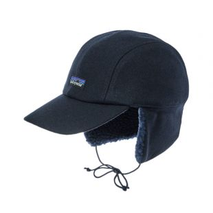 Wool Ear Flat Cap - Navy