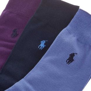 Socks Three Pack - Purple / Navy