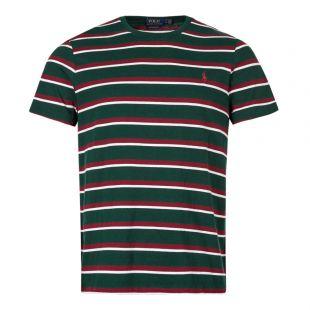 ralph lauren t-shirt stripe 710740871 006 green / maroon / white