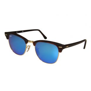 Ray Ban Clubmaster Sunglasses | ORB301611451751 Blue Mirrored / Dark Tortoiseshell