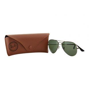 Aviator Sunglasses - Gun Metal / Green