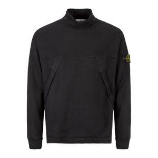 Stone Island Mock Neck Sweatshirt 711561820 V0029 In Black