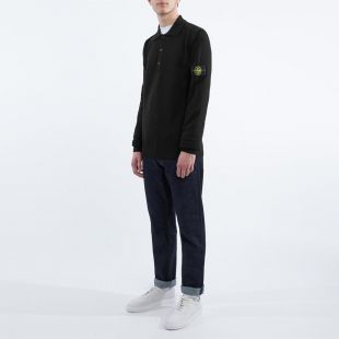 Long Sleeve Polo Shirt – Knitted Black