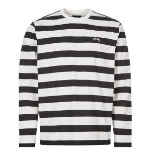 Stussy Long Sleeve T-Shirt Printed Stripe 1140161 BLK Black / White