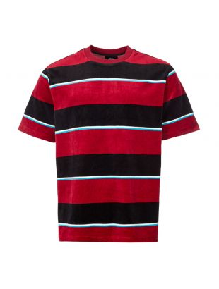 stussy t-shirt velour stripe | 1140196 WINE wine