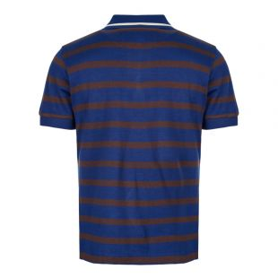 Knitted Polo Shirt Striped - Blue / Brown / Ecru