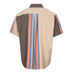Short Sleeve Shirt - Stripe / Brown