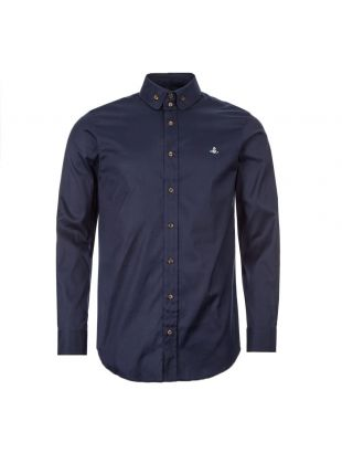 Vivienne Westwood Button Down Shirt | Navy S25DL0487 S48869 524F | Aphrodite