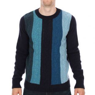 ymc crew neck jumper in blue