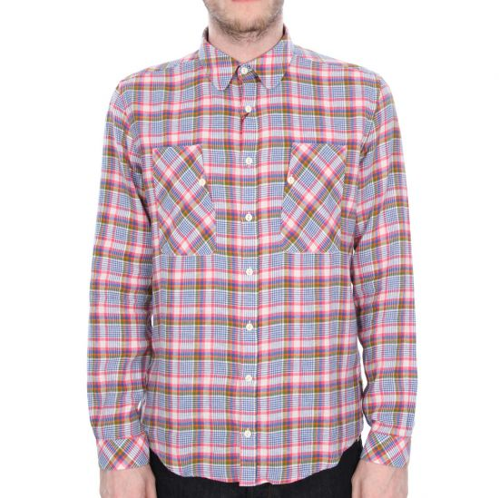 barbour heartwood plaid shirt in pink