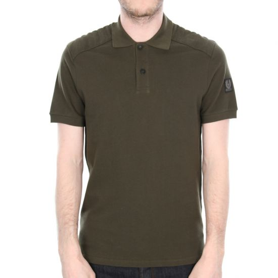 Belstaff Westley Piqué Cotton Polo Shirt in Faded Olive