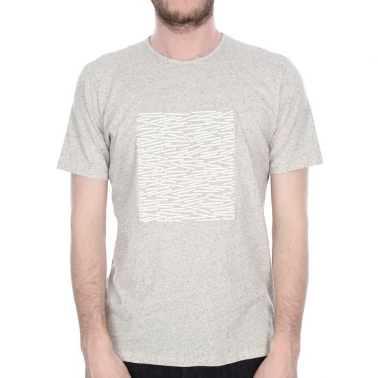 Folk Matchstick Placement T-Shirt in Mottle White