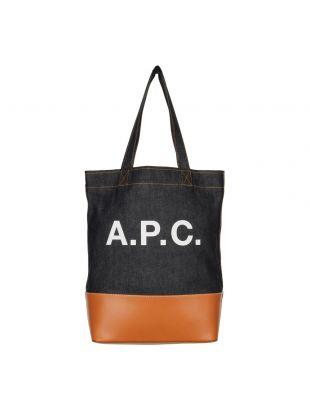 A.P.C. Logo Tote Bag COCMK H61229 CAF in Denim / Caramel