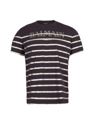 balmain t-shirt logo RH116011059 6UB navy / silver stripe