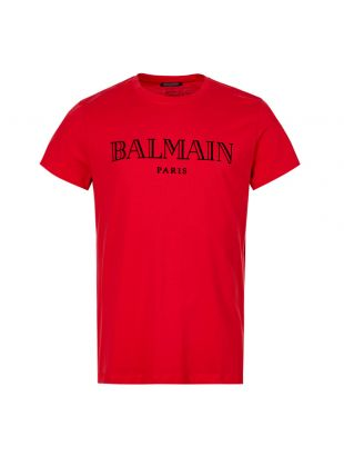 Balmain T-Shirt Logo SH11601I112 3AA in Red