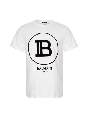 Balmain T-Shirt Logo SH01135I207 OFA in White from Aphrodite