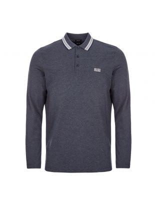 BOSS Athleisure Long Sleeve Polo Shirt | 50272945 488 Open Blue