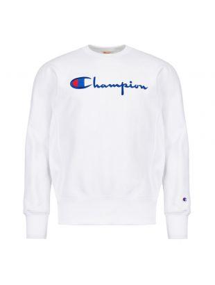 champion sweatshirt script logo 212576 WW001 WHT white