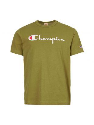 champion t-shirt script logo 210972 GS543 ODB green