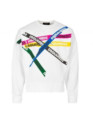 DSquared Sweatshirt S74GU0337 S25030 100 In White Tape Logo