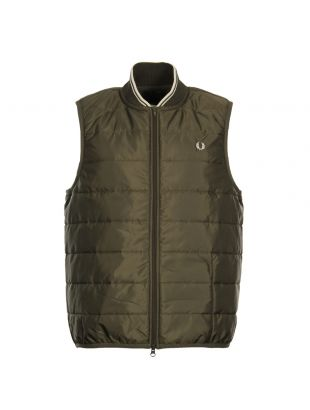 Fred Perry Lavenham Quilted Gilet SJ4030 385 In Dark Olive
