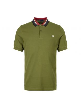 Fred Perry Polo Shirt Stripe Collar M6504 H94 Cypress Green